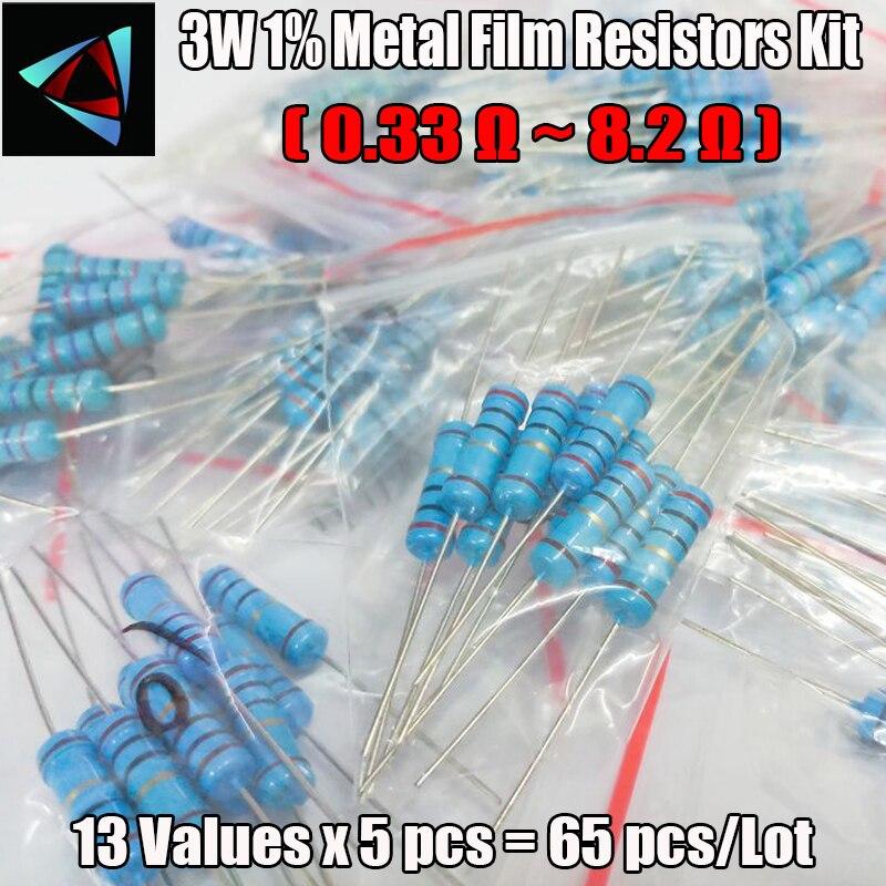 3W 13valuesx5pcs=65pcs 0.33R - 8.2R 1% Metal Film Resistor Assorted Kit Resistor Pack