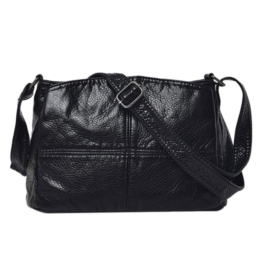 New Arrival Vintage Women Pure color Leather Crossbody Bags High Quality Zipper Satchels Messenger Shoulder Bag For Women 2018 S