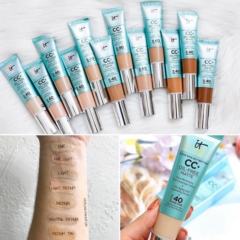 It Cosmetics Foundation Cream Matter Oil-Control Makeup Base Full Cover Dark Circle Eyes SPF 40 Make Up Skin Brighten Cream