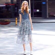 Fairy Dreams 2 Piece Set Women Blue T Shirt Crop Tops And Print Skirt Chiffon Suits The Feminine 2017 Summer Fashion Clothing
