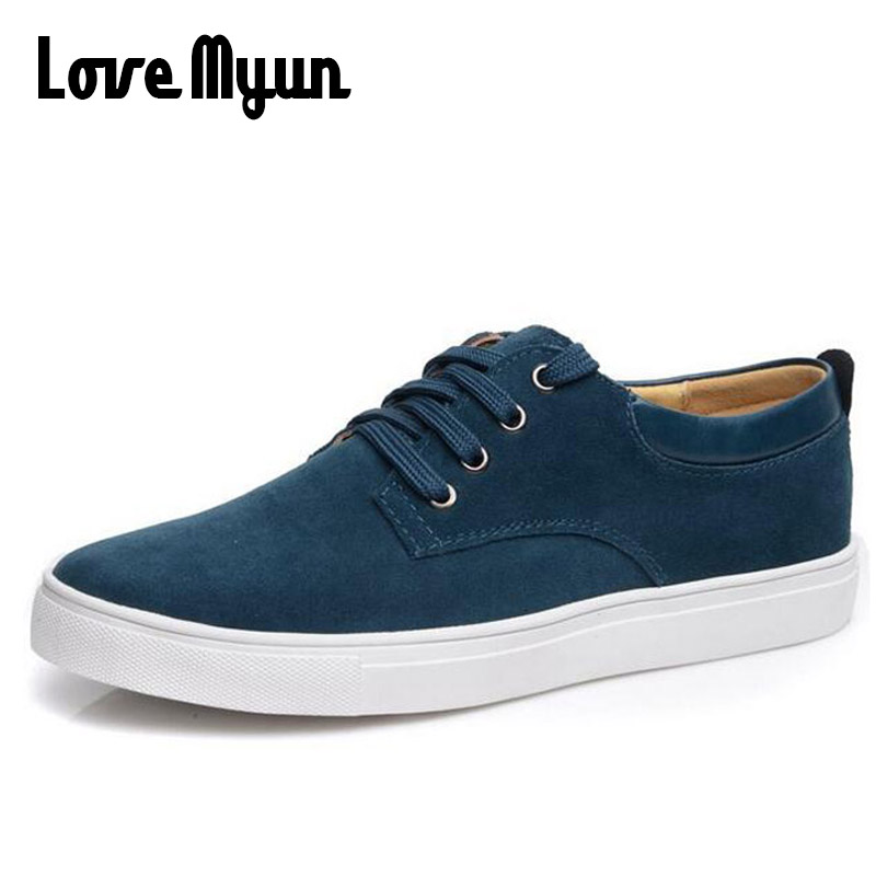 New Arrive Mens Genuine Nubuck Leather Shoes Fashion Men's Leather Sneakers Casual Shoes Lace Up Sneaker Big Size 38-49 AA-22