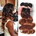 Alta qualidade Ombre cabelo onda do corpo 3 Bundles Annabelle cabelo de dois tons 1B / 30 1B / 27 Ombre malaio virgem extensões de cabelo humano