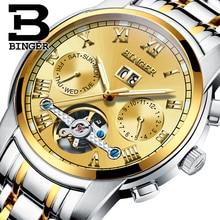2017 New BINGER men's watch luxury brand Tourbillon sapphire luminous multiple functions Mechanical Wristwatches B8601-9