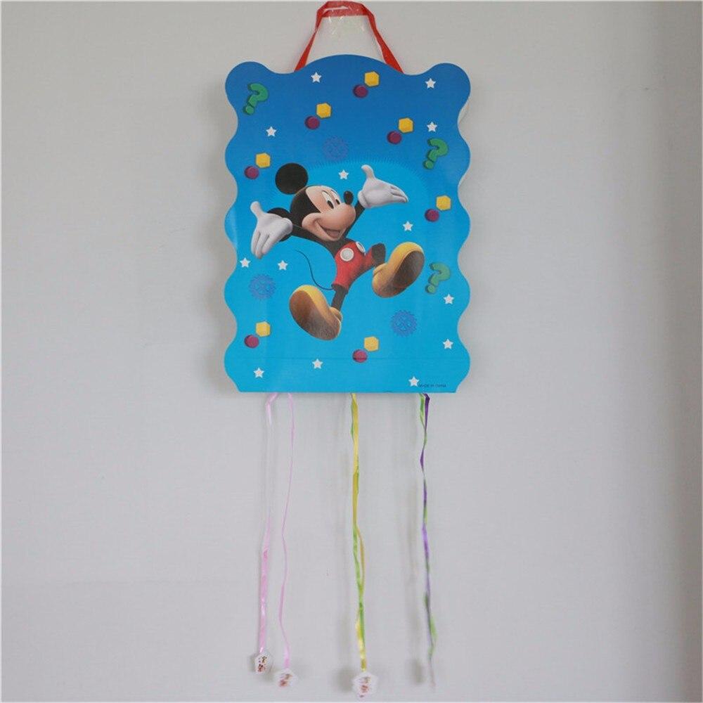 1pc Mi Mouse Cartoon Paper Folding Pinata Party Toy Game Bingo Girl Kids Birthday/Festival Decoration Favor Supplies 49*27cm