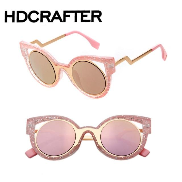f852d6bd8c2 Frame Cat Eye Women Sunglasses Female Sunglasses Famous Brand Designer  Alloy Legs Glasses
