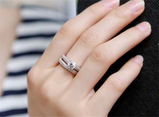 CC 925 Silver Rings For Women Simple Design Double Stackable Fashion Jewelry Bridal Sets Wedding Engagement Ring Accessory CC634 1