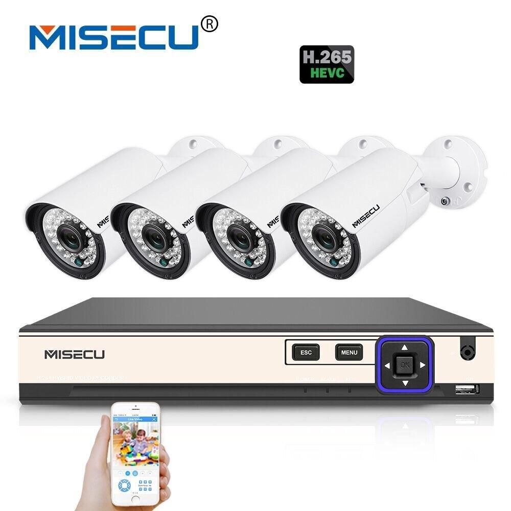 MISECU H.265 4.0MP 4 k 48 v 4 Canali POE CCTV di Sorveglianza Sistema di Telecamere di Hi3516D OV4689 P2P HDMI Metallo 36 pz IR H.265/H.264 Doppia