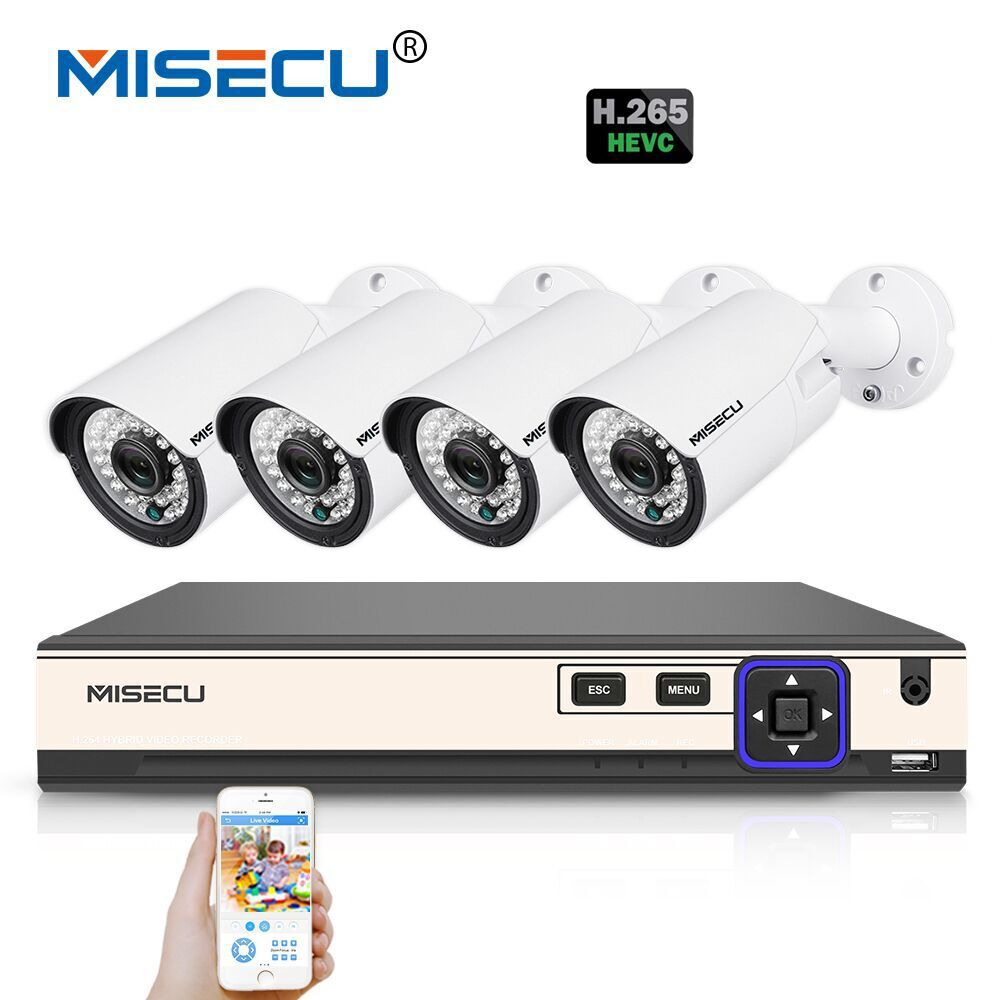 MISECU H.265 4.0MP 4K 48V 4 Channel POE Surveillance CCTV Camera System Hi3516D OV4689 P2P HDMI Metal 36pc IR H.265/H.264 Double misecu 48v poe h 265 h 264 full hd 2 0mp 3 0mp 4 0mp ip camera hi3516d ov4689 outdoor wide dynamic motion onvif p2p night vision