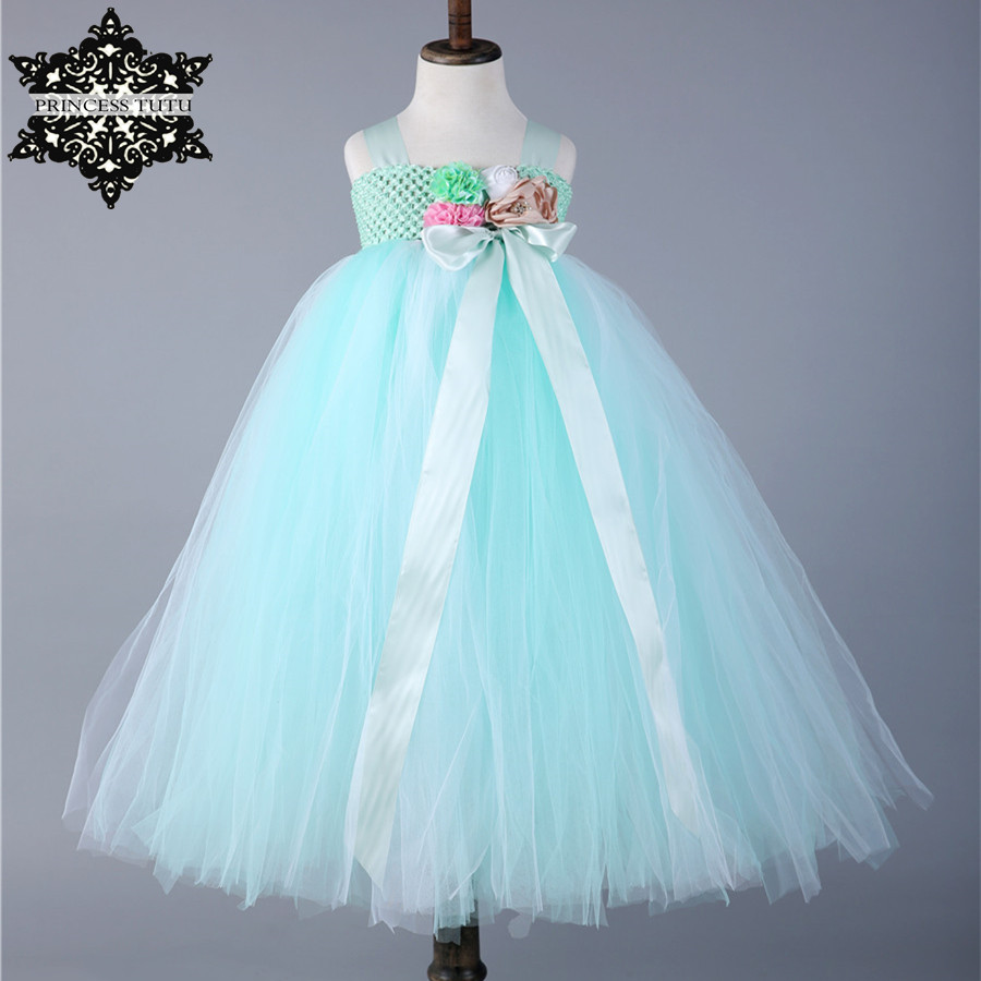 Princess Tutu Handmade Mint Green Girl Tutu Dress Tulle Flower Girl Dress Kids Wedding Party Prom Bridesmaid Birthday Dresses kids fashion comfortable bridesmaid clothes tulle tutu flower girl prom dress baby girls wedding birthday lace chiffon dresses