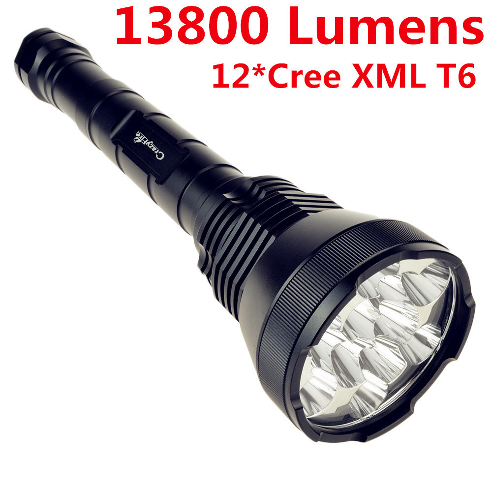 CrazyFire High Power 13800 Lumen 12 x CREE XM-L T6 LED Flashlight 5 Modes Waterproof Super Bright Camping Hunting Lantern Torch white hair old version 1 6 wolverine logan head sculpt for 12 action figure model gifts toys collections