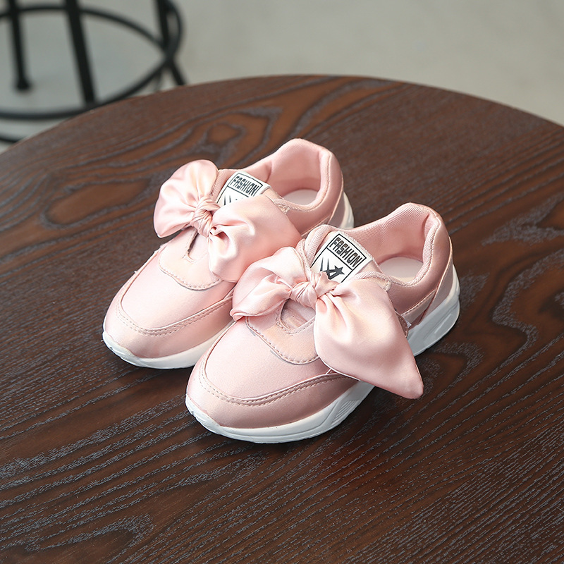 Kids Shoes Girls Shoes with Bow 2018 Spring Fashion Kids Sneakers Girl Princess Cute Chidren Casual Shoes Soft Sole Sport Shoes