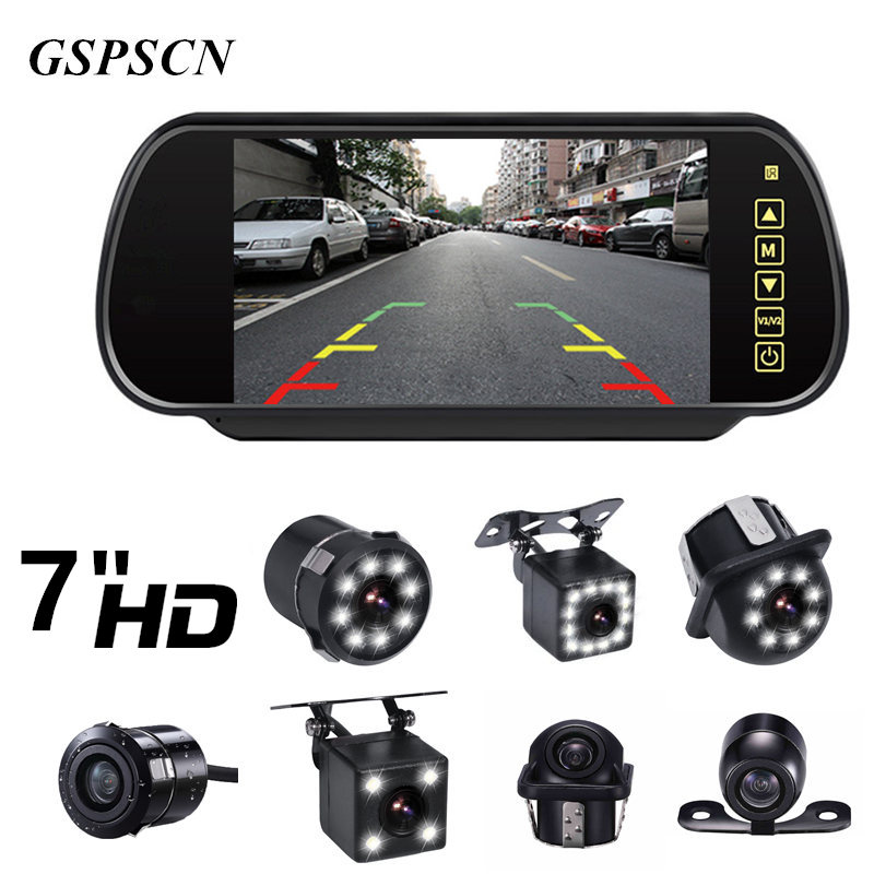GSPSCN Upgrade Reversing Backup Rear View Camera LED Night Vision With Full Touch Screen 7 Inch LCD Rearview Mirror Monitor