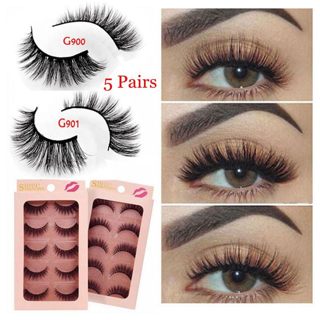 c29164c7f9f 5 Pairs 3D Mink Eyelashes Natural Long Handmade Thick 3D False Lashes  Extension Big Eyes Extension