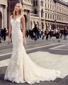 Amdml Noble Lace Light Champagne Tulle Mermaid Wedding Dresses Sexy Straps Beaded V-Neck Chapel Train Plunging Back Bridal Gowns