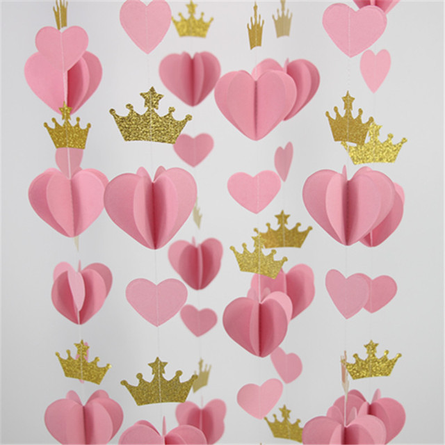 3D Gold Pink Heart Crown Paper Garland Princess Birthday Balloon Tail Baby Girls Shower Decorations Pack Of 5