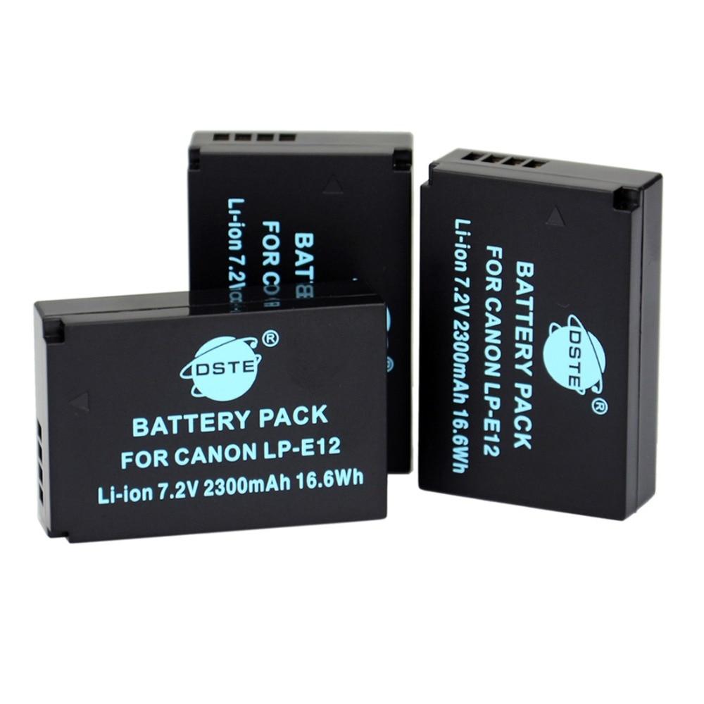 DSTE 3pcs LP-E12 LPE12 LP E12 Camera Battery for Canon M 100D Kiss X7 Rebel SL1 EOS M10 Camera