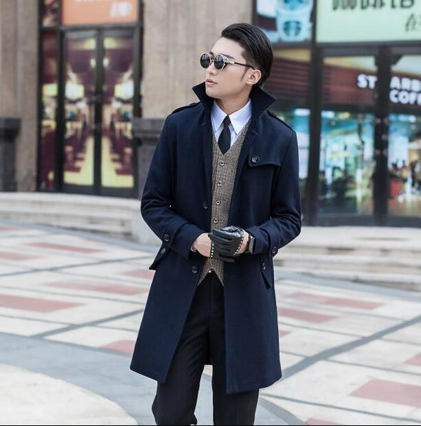 2018 new arrival wool coat men jackets and coats mens slim winter trench coats teenager outerwear