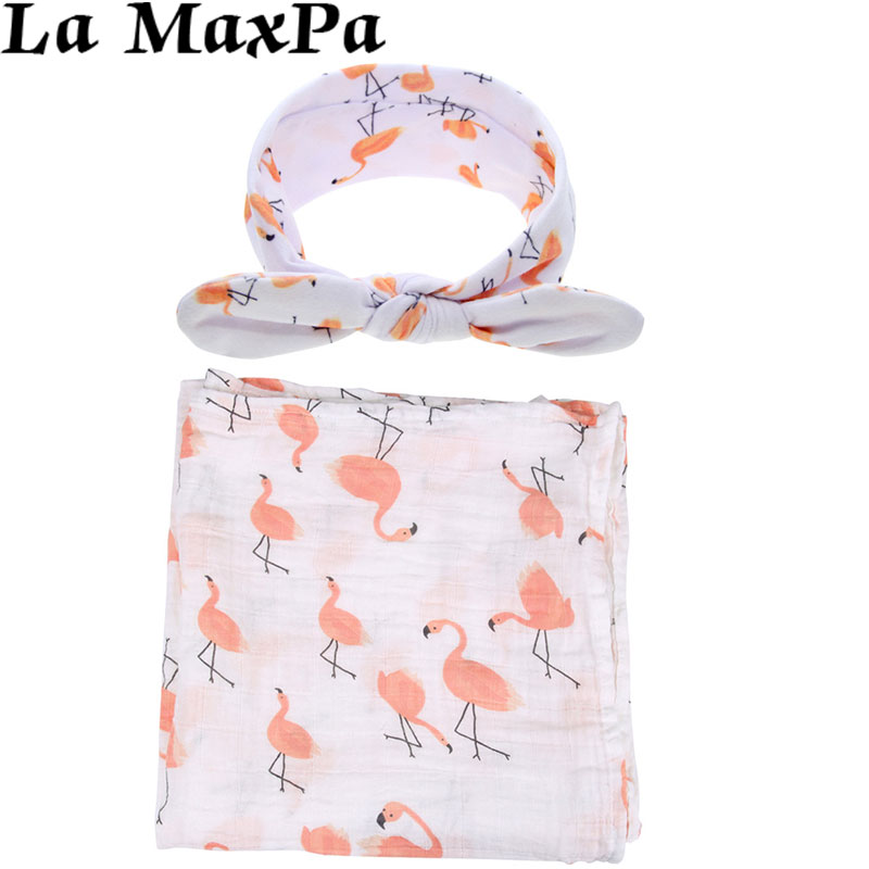 2Pcs/Set Flamingo Swaddle Headband Muslin Cotton Baby Receiving Blanket Newborn Bed Swaddle Wrap Photograph Props Baby Blankets