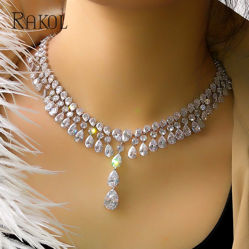 RAKOL Nigeria Bridal Wedding Jewelry Set For Women AAA Cubic Zircon Water Drop Blue Crystal Necklace&Earrings rakol 2018 new wedding costume accessories heart shape cubic zircon crystal bridal earrings and rhinestone necklace jewelry set