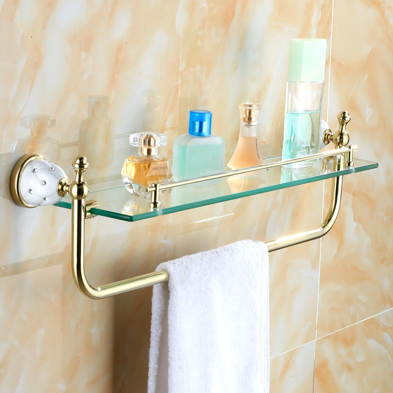 Antique Gold Polished Makeup Holder With Towel Rack Gold Crystal Copper Plated Glass Shelf Wall Mount Bathroom Accessories whole brass blackend antique ceramic bath towel rack bathroom towel shelf bathroom towel holder antique black double towel shelf