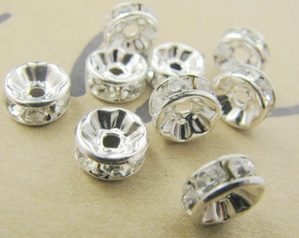 8mm white crystal spacer metal silver plated rondelle for What metal is best for jewelry