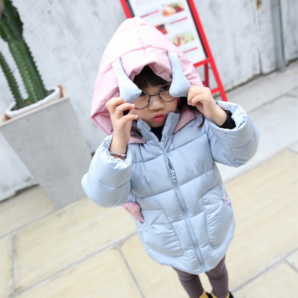 2016 Girl Winter Warm butterfly Coat Girl Long Sleeve Cute Hooded Fashion Christmas Clothes Kid School