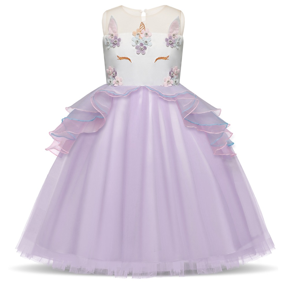 5292eb6db6c3c US $4.98 25% OFF|Flower Girls Unicorn Tutu Dress Pastel Rainbow Princess  Girls Birthday Party Dress Children Kids Halloween Unicorn Costume 3 8Y -in  ...