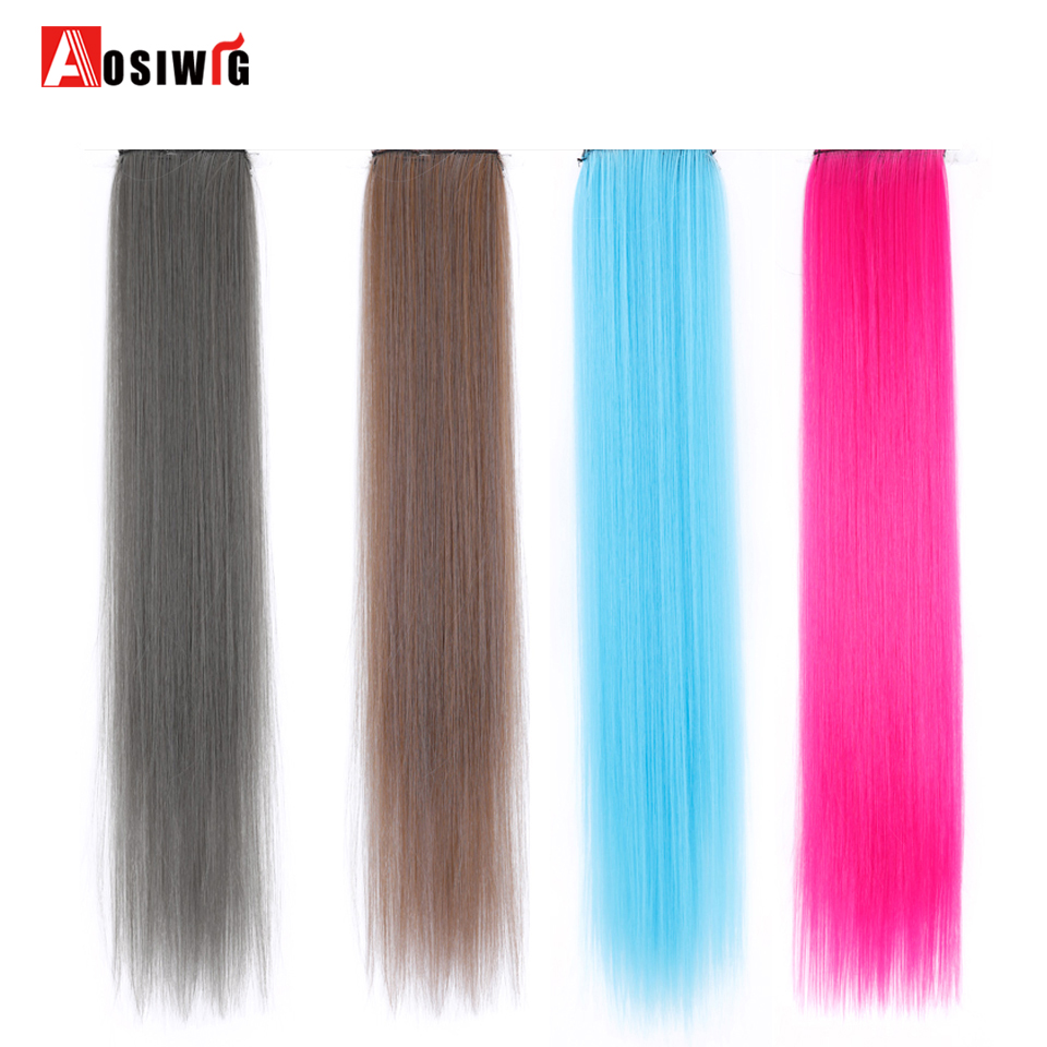 Hot Sale Aosiwig 2 Clip In One Piece Hair Extensions Pure Color Long