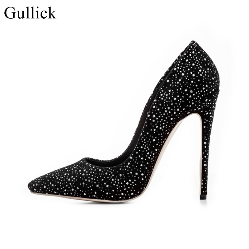 Gullick High 12cm Heel Woman Pumps Crystal Embellished Wedding Dress Shoes Stiletto Heels Pointed Toe Party Dress Shoes Black high quality suede wedding party dress shoes women pointed toe stiletto brand pumps bow fringe embellished high brands