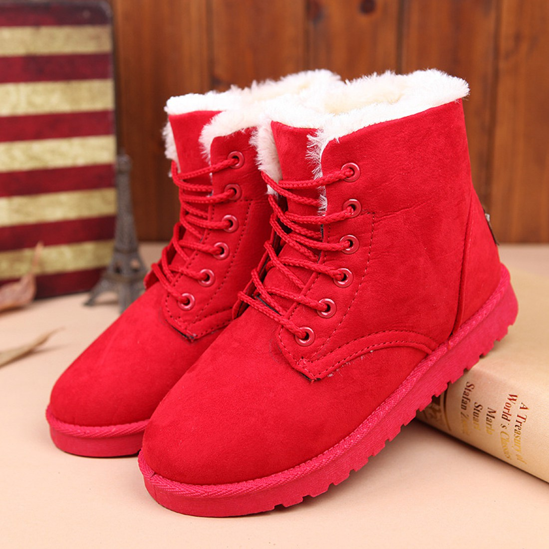 Warm Winter Chirsmas Snow Boots Women Fashion Lined Lace Up Ladies Platform Vogue Martin Boots Flat Fur Hot Mid-calf Ankle Shoes ms autumn and winter snow boots warm comfortable wholesale women ladies casual shoes lace up martin boots popular dt548