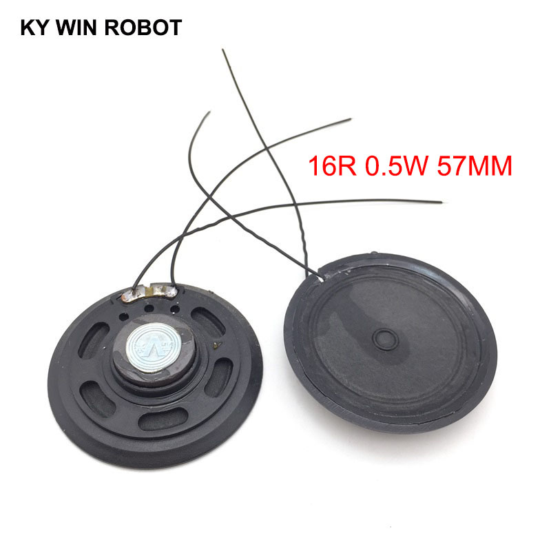Original 2pcs/lot New Ultra-thin Toy-car Horn 16 Ohms 0.5 Watt 0.5w 16r Speaker Diameter 57mm 5.7cm With Wire Wide Varieties Passive Components
