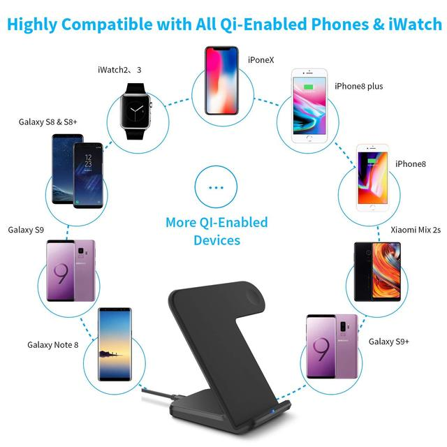 2 in 1 Wireless Charging for Apple watch 1 2 3 4 Qi Fast Wireless Charger Dock Stand for iPhone XS X 8 Plus Samsung Galaxy S9 S8 4