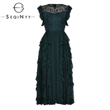 SEQINYY Green Dress 2019 Summer New Fashion Design Sleeveless Ruffles Spliced Lace Flowers A line Midi Dress