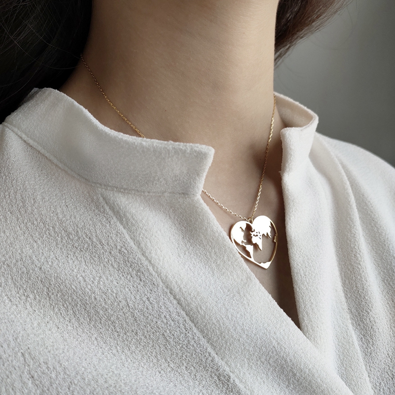 LouLeur Real 925 Sterling Silver Simple Necklaces Love Of The World Heart Shape Gold Necklaces For Women Fashion Quality Jewelry