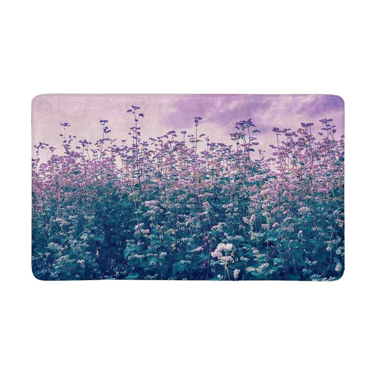 Винтаж Фиолетовый Гречневое поле коврик анти-скольжения входной коврик пол ковер крытый/передняя дверь коврики домашний декор резиновая подложка большой
