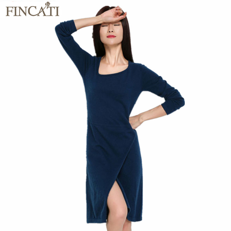 2017 Women s Irregular Collar Cashmere Blend Vintage Straight Dress Front Split Sexy Club Elegant Evening