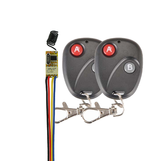 Small Remote Relay Switch 3.6V 4.8V 5V 6V 7.4V 9V 12V Wide Voltage Mini Receiver Transmitter Normally Open Close Wireless Switch