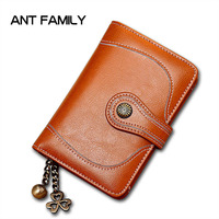 High Quality Genuine Leather Women Wallet Small Female Short Wallet Ladies Mini Coin Purse Fashion Retro Oil Wax Leather Wallets