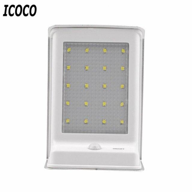 ICOCO 20LED Solar Power Outdoor Security Light PIR Motion Sensor Voice  Control Outdoor Garden Path Wall