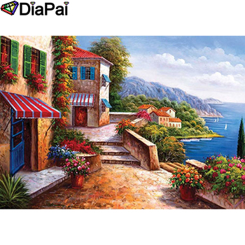 DIAPAI 5D DIY Diamond Painting 100% Full Square/Round Drill Town scenery Embroidery Cross Stitch 3D Decor A21956