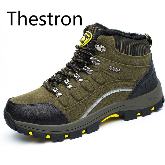 Hiking Boots Men Trekking Hiking Shoes Mens Winter Sneakers Plus Cashmere Warm Snow Boots Anti-Slippery ArmyGreen Blue Trainers
