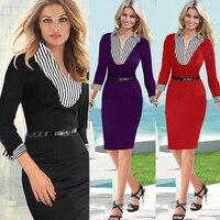 2017 New Office Dress Women Work Wear Slim Leave Two Striped Mosaic Cuff OL Temperament Pencil Dress Club Party Dress