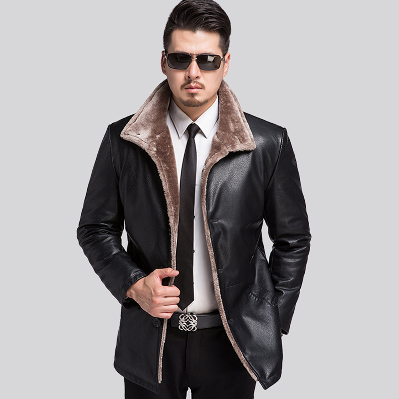 new brand mens winter fur leather jacket lapel business Leather Jacket and Coat Casual Faux Leather Zipper Overcoat