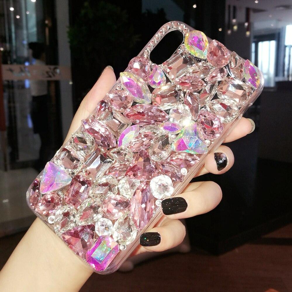 Luxo cristal gem strass casos para iphone 11 pro max x xs max xr borda macia clara capa de telefone para iphone 5S 6 s 7 8 plus capa