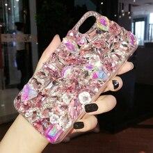Lüks kristal cevheri Rhinestone iphone kılıfları X XS MAX XR Yumuşak Kenar Temizle telefon kılıfı Kapak Için iphone 5 S 5C 6 S 7...