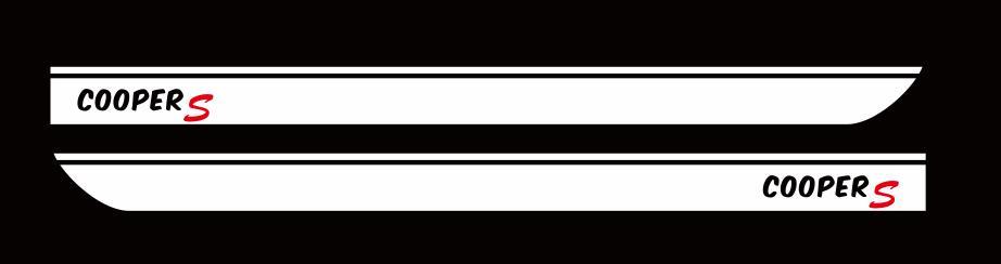 Для BMW MINI CooperS F55 F56 F54 R55 наклейки для боковой юбки автомобиля Аксессуары для кузова подходят на 3-5 дверей Спортивные полосы наклейки - Название цвета: White-black letter