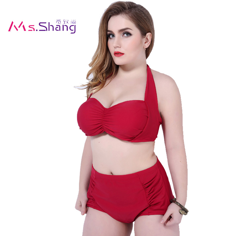 2017 Women Two Piece Bikini Set High Waist Underwire Swimsuit May Beach Push Up Plus Size Swimwear Red Biquini Bathing Suit  6XL 2017 one piece swimsuit sexy push up swimwear female plus size swimwear red white may beach halter top bathing suits 3xl bikini