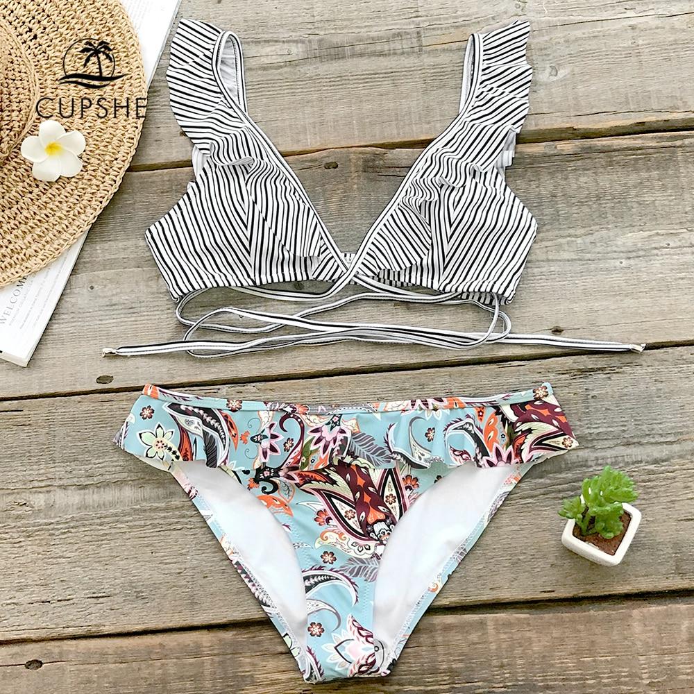 a7a6d6700442 CUPSHE Tropical Paradise Ruffle Bikini Sets Women Cute Two Pieces Swimsuits  2019 Girl Sexy Beach Bathing Suits Swimwear