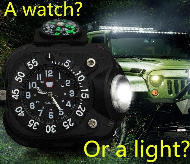2016 led usb mtb racefiets licht hand lamp pols gedragen horloge siliconen horloge zaklamp verlichting