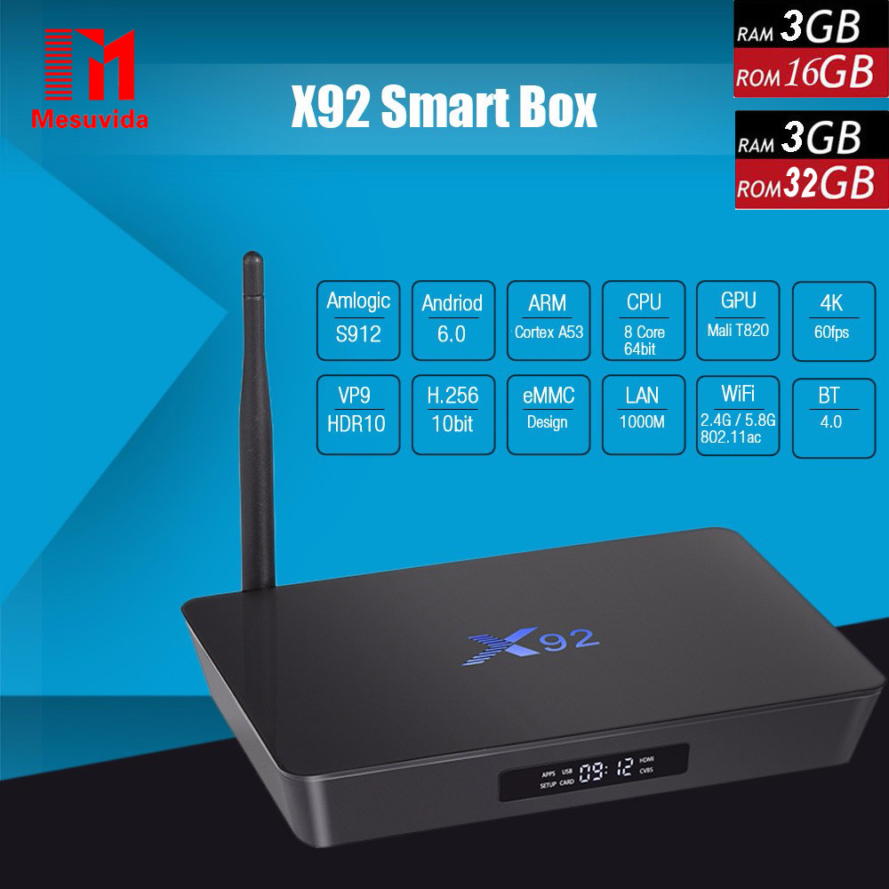 Prix pour Mesuvida X92 3G RAM 16/32 GB Smart TV Box Android6.0 2.4/5.8 GHz WiFi BT4.0 Smart Set Top Box Amlogic S912 4 K 3D Media Player